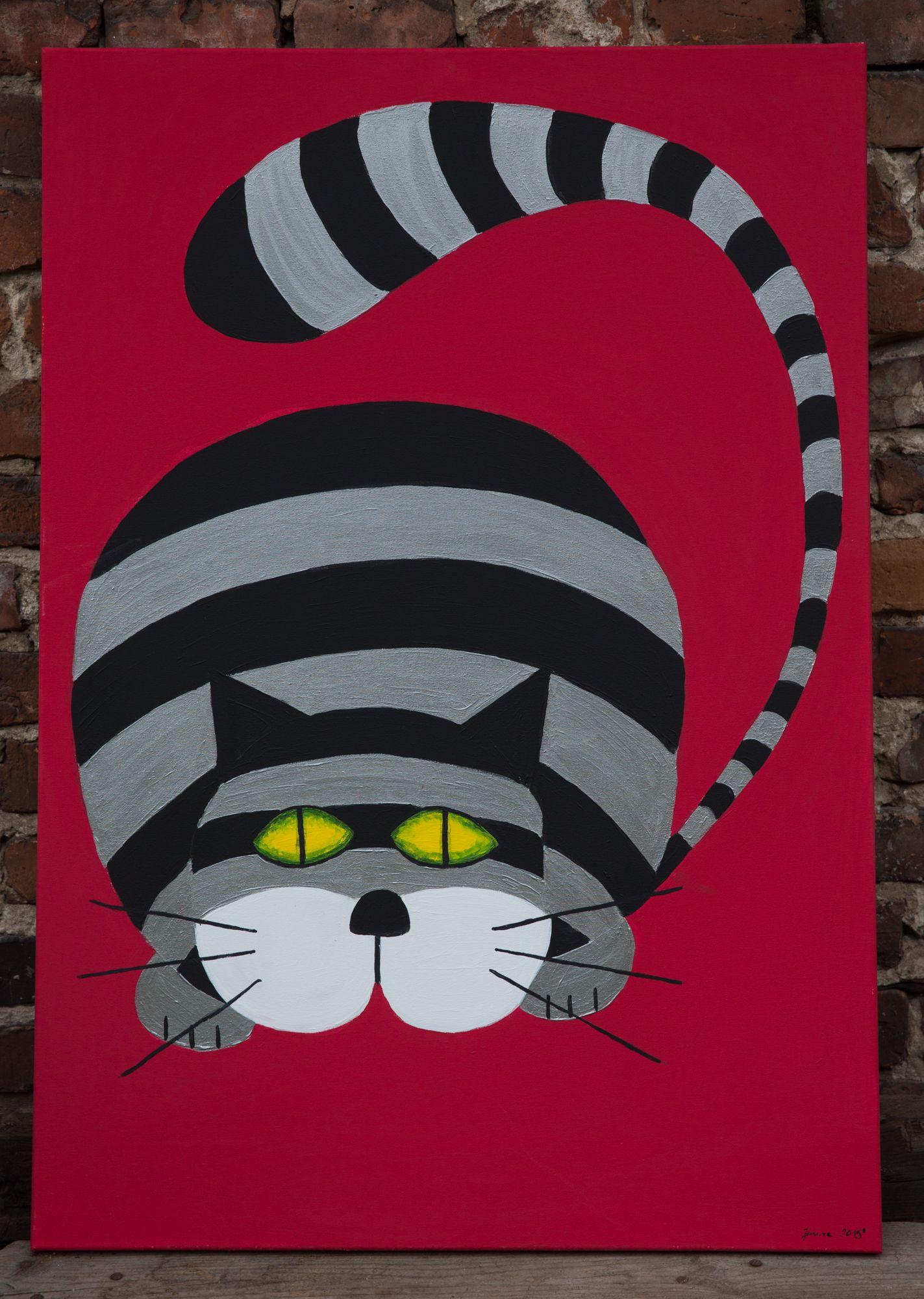 Obraz Malowany Farbami Akrylowymi Na Płótnie Koci Kot Pinterest