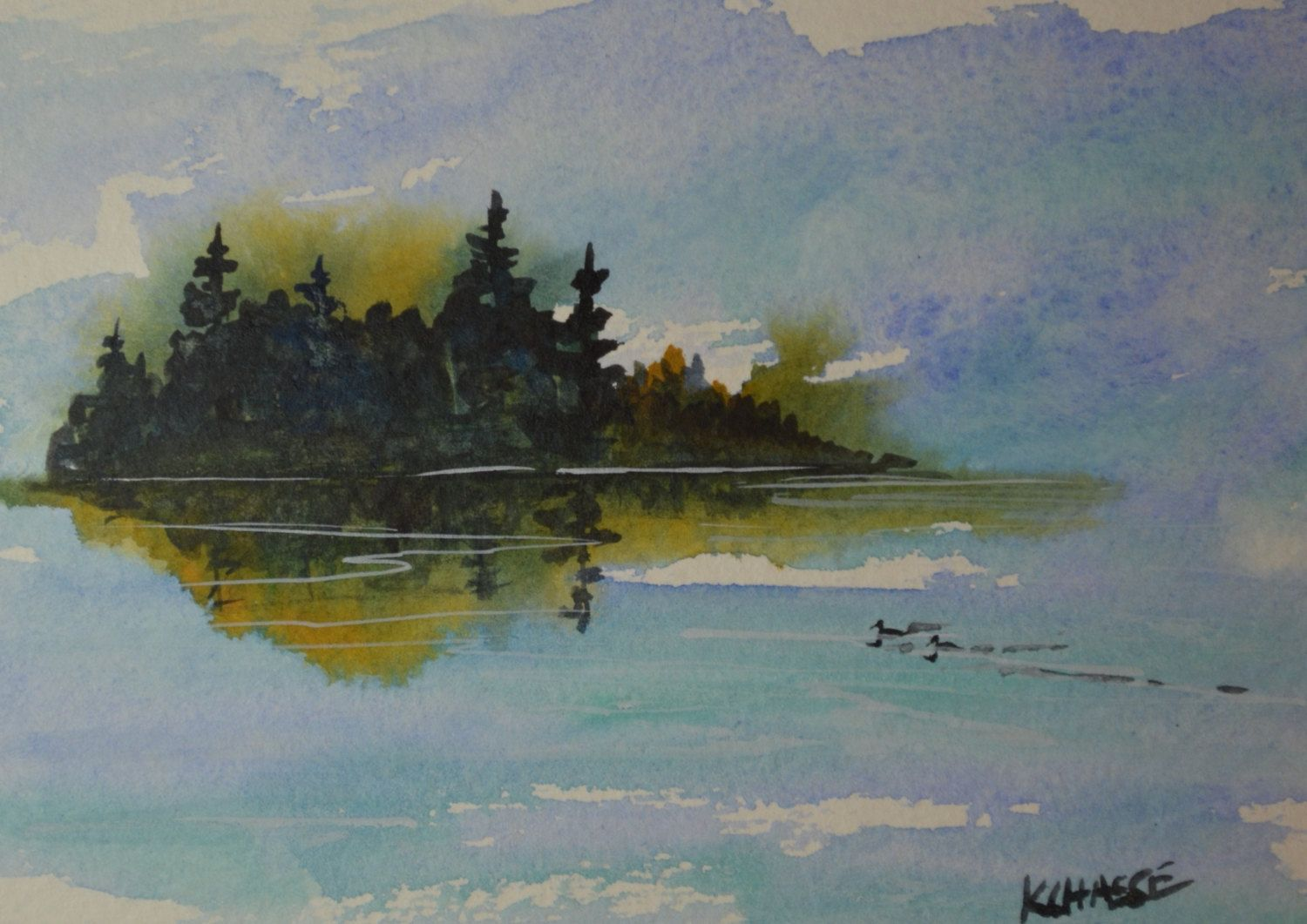 Original Watercolor Maine Painting Islands Trees Coastal New
