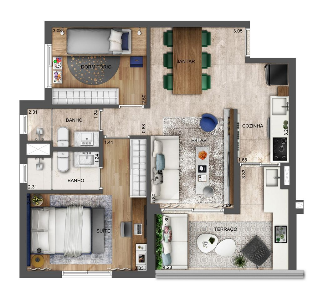 Neorama floor plan setin raposo tavares neorama for 35m2 apartment design