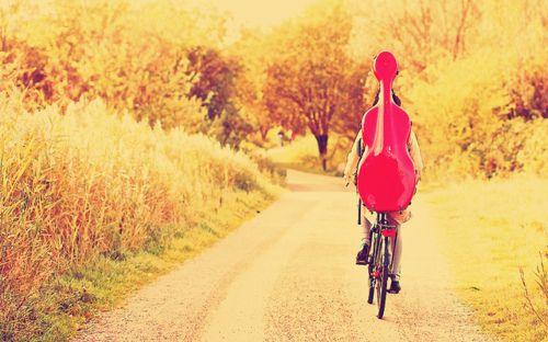 Bike+cello+the road.
