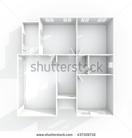 3d Interior Rendering Plan View Of Empty Paper Model Home Apartment Room Bathroom Bedroom Kitchen Living Hall Entrance Door Window