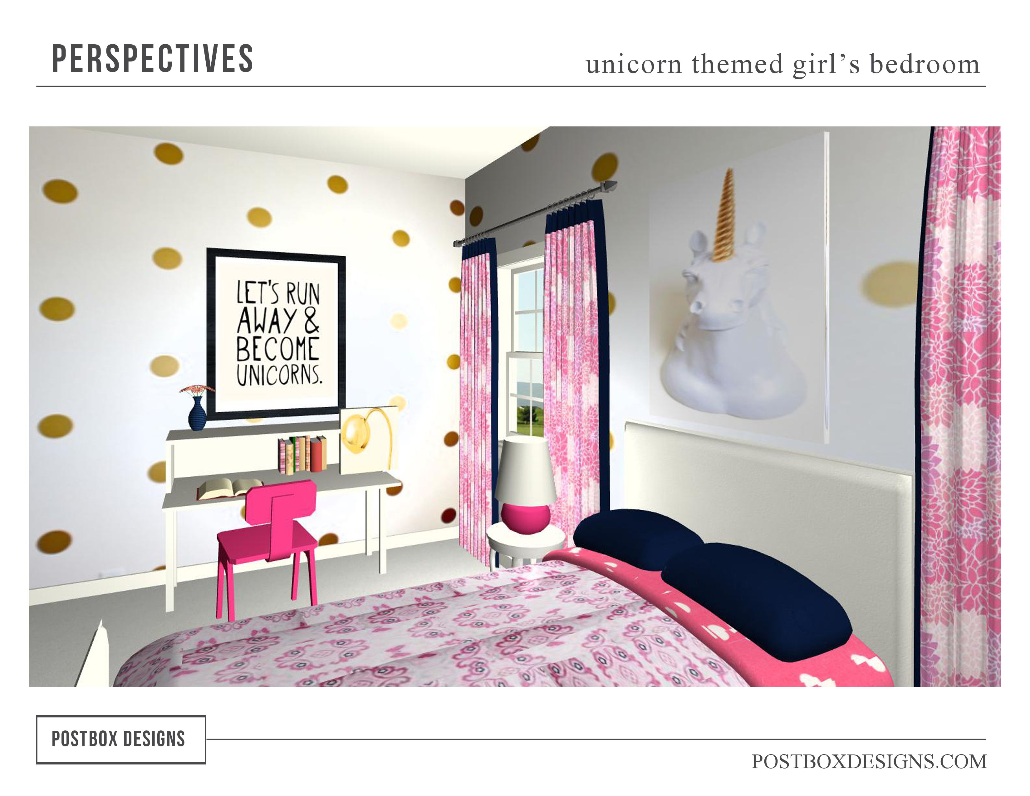 Unicorn Themed Little Girls Bedroom, Three Dimensional Perspective Drawing For