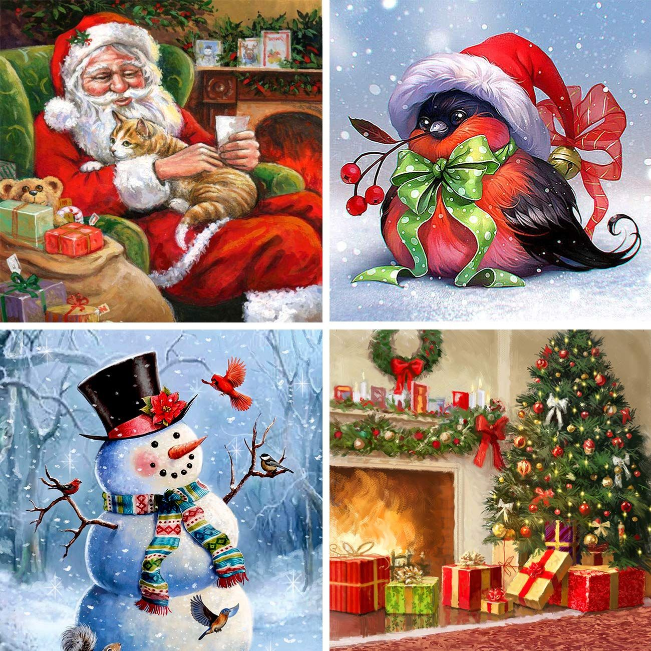 Ginfonr 4 Pack 5d Diamond Painting Full Drill Santa Bird Snowman Christmas Tree Xmas Gift Rhinestone E In 2020 Painting Crafts Snowman Christmas Tree Embroidery Craft