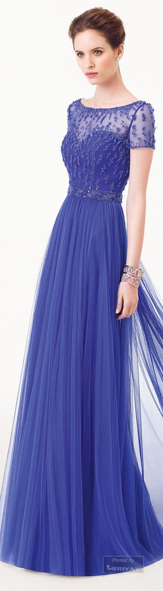 Azul Rey Largo Moda Vestidos De Noche Azules Vestidos