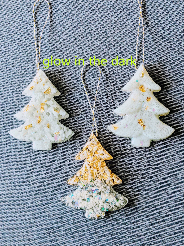 Christmas Ornaments Handmade Glow In The Dark Resin Tree Etsy Christmas Tree Ornaments Handmade Christmas Tree Handmade Christmas Ornaments