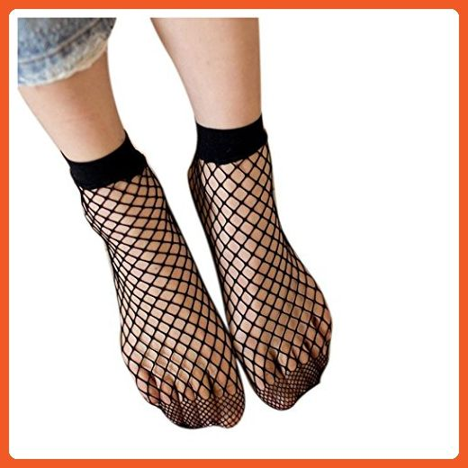 Women Fishnet Socks Inkach Fashion Girls Sexy Lace Fishnet Net Plain Top-Ankle Short Socks