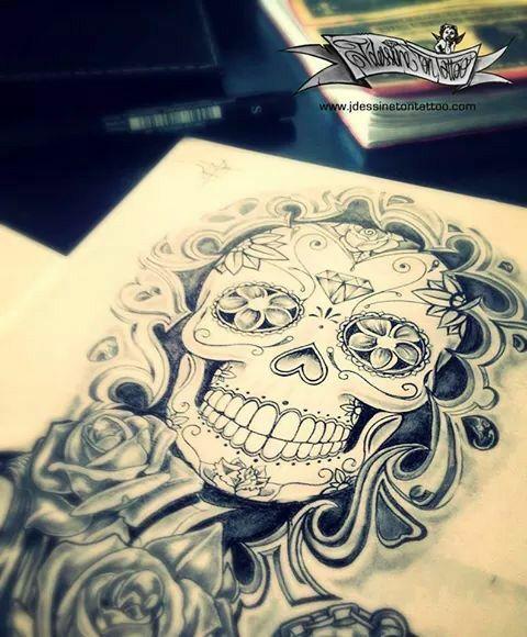 Magnifique Tete De Mort Mexicaine Tattoos Pinterest Tatouage