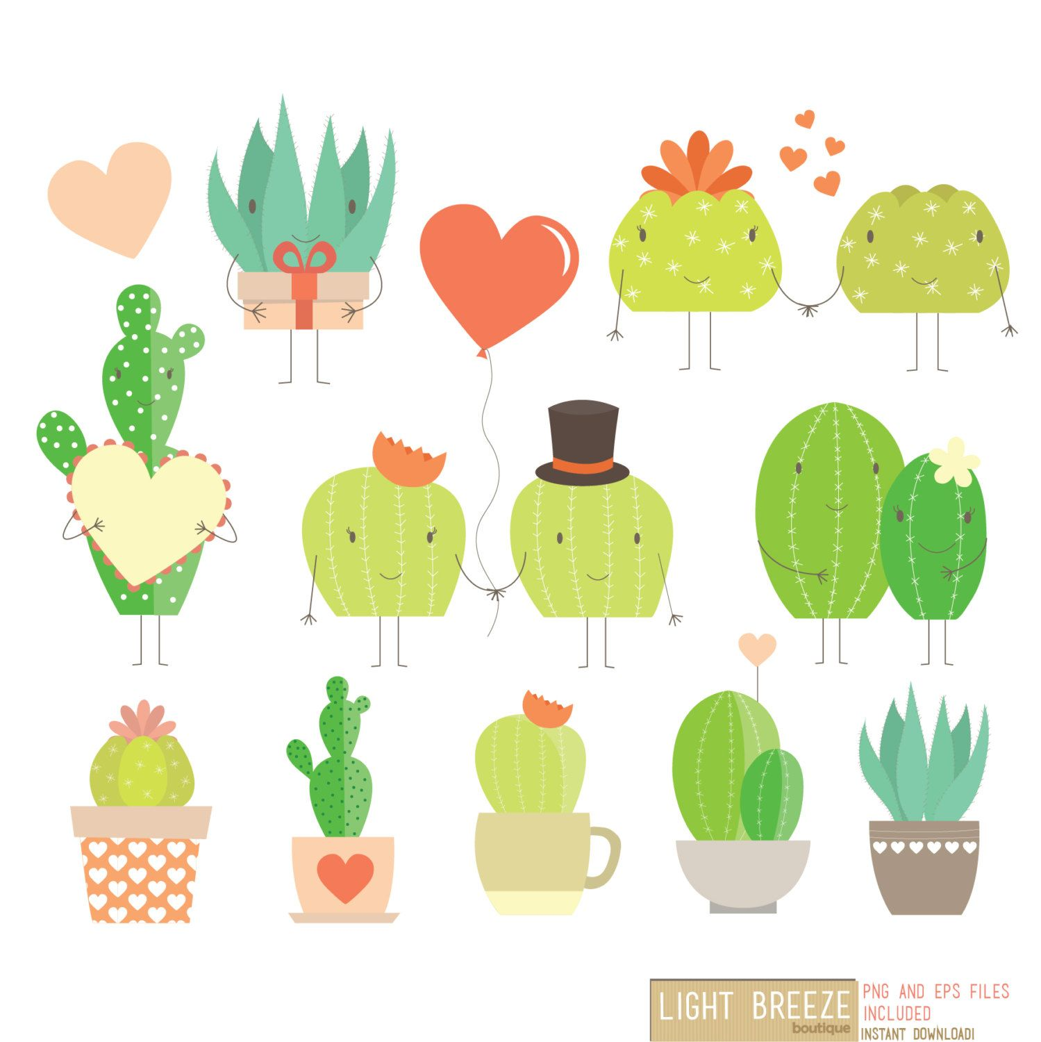 Valentine s day love cactus digital clipart vector set instant download personal and commercial