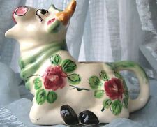 Vtg 1945 RARE Occupied Japan Floral Ceramic Cow Creamer Pitcher Wonderful Cond.