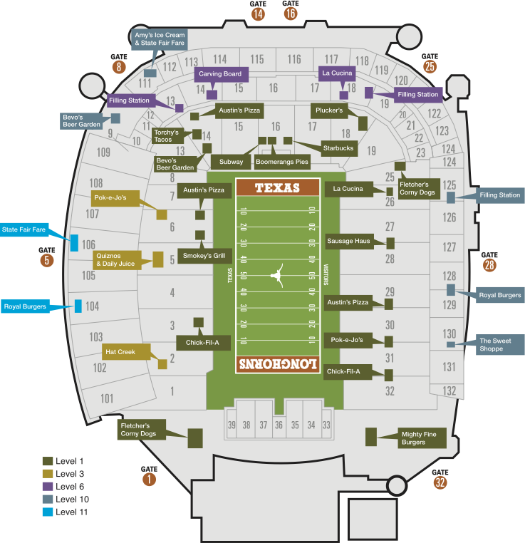 University Of Texas Stadium Map
