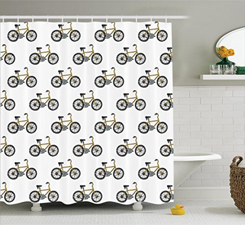 Bicycle Decor Shower Curtain Set By Ambesonne Hand Drawn Doodle Cycling Theme Pattern Of Yell Shower Curtain Sets Retro Shower Curtain Elephant Shower Curtains