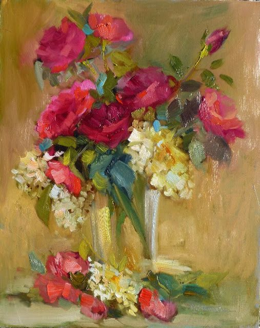 "Artists Of Texas Contemporary Paintings and Art - Hedi Moran Floral Still Life Workshop, Day 3, Fayetteville, Arkansas, ""August Roses"", SOLD Floral Oil on Canvas Panel, Art Journaling One Day Workshop by Texas Artist"