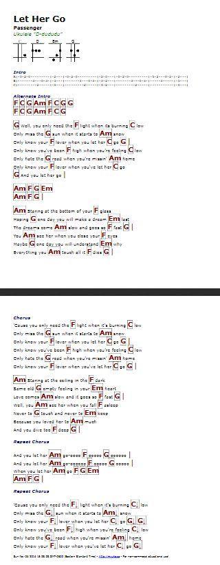 let her go pdf chords
