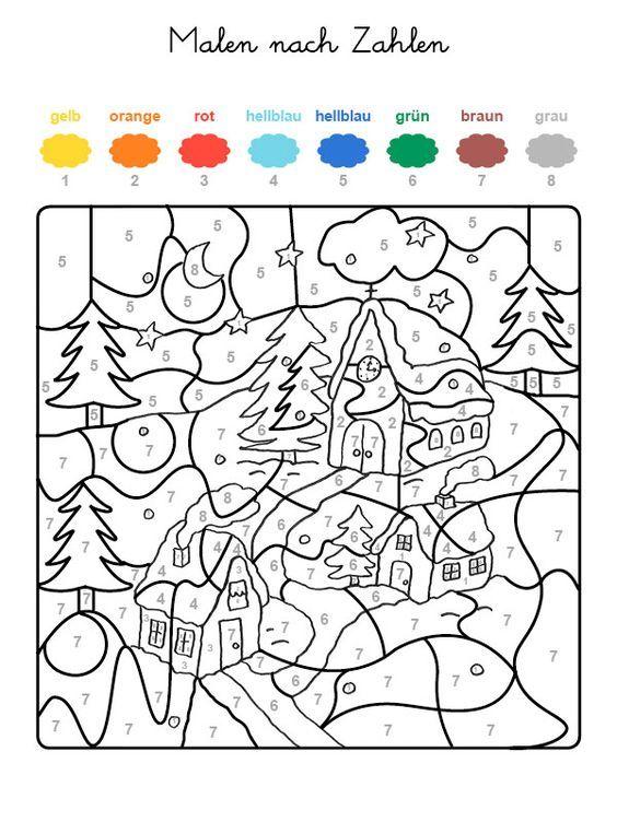 ausmalbild malen nach zahlen: winterzauber ausmalen