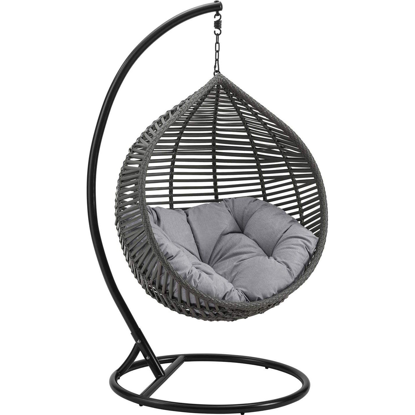 Modway Eei 3614 Gry Gry Garner Teardrop Outdoor Swing Chair Pe Rattan Gray Fabric In 2020 Swinging Chair Swing Chair Outdoor Hanging Swing Chair