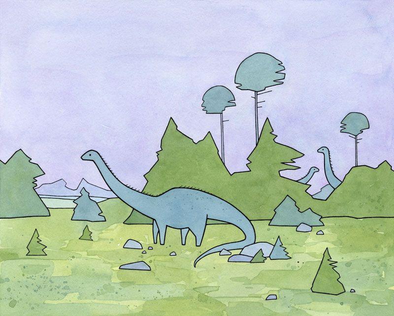 Diplodocus Cute Dinosaur Nursery Print, sauropods illustration print for kids