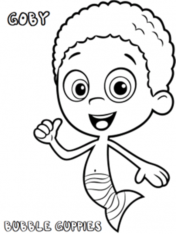 printable bubble guppies goby coloring pages printable coloring pages for kids - Bubble Guppies Coloring Pages Goby