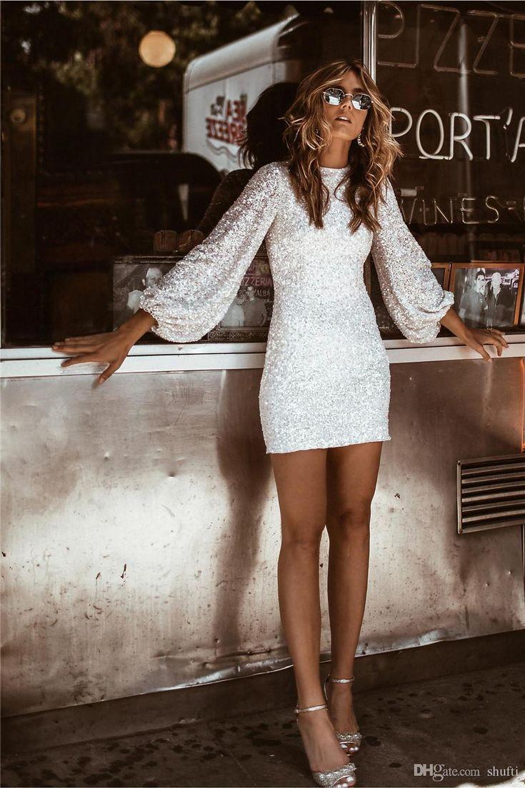 Elegante Cocktailkleider Mantel Juwel Hals Pailletten lange Ärmel