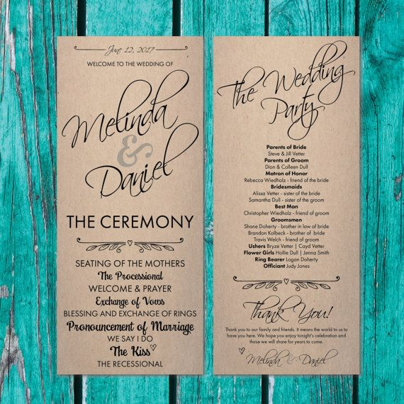 Wedding Program Rustic Paper Fan For