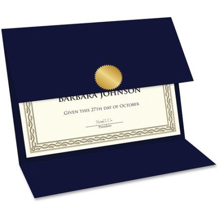 Geographics Double-fold Certificate Holder, Blue   Certificate ...