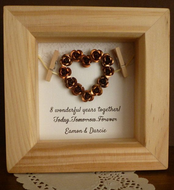 8th Bronze Anniversary Gift Wedding By Timeforgift