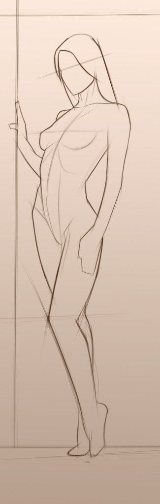 Outline sketch of a woman standing