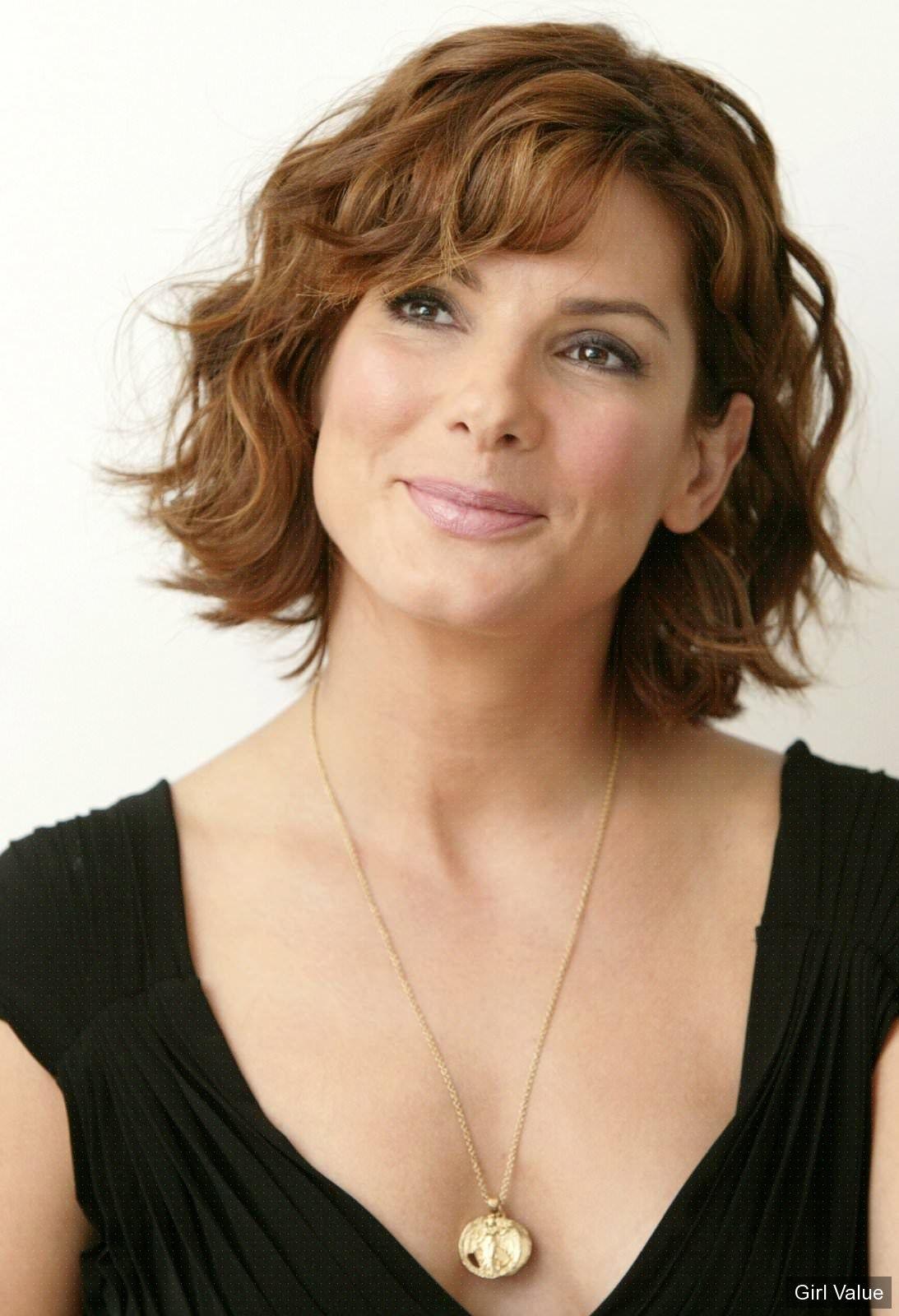 Female Celebrities With Light Brown Hair pertaining to sandra bullock light brown curly hair in black dress   sandra