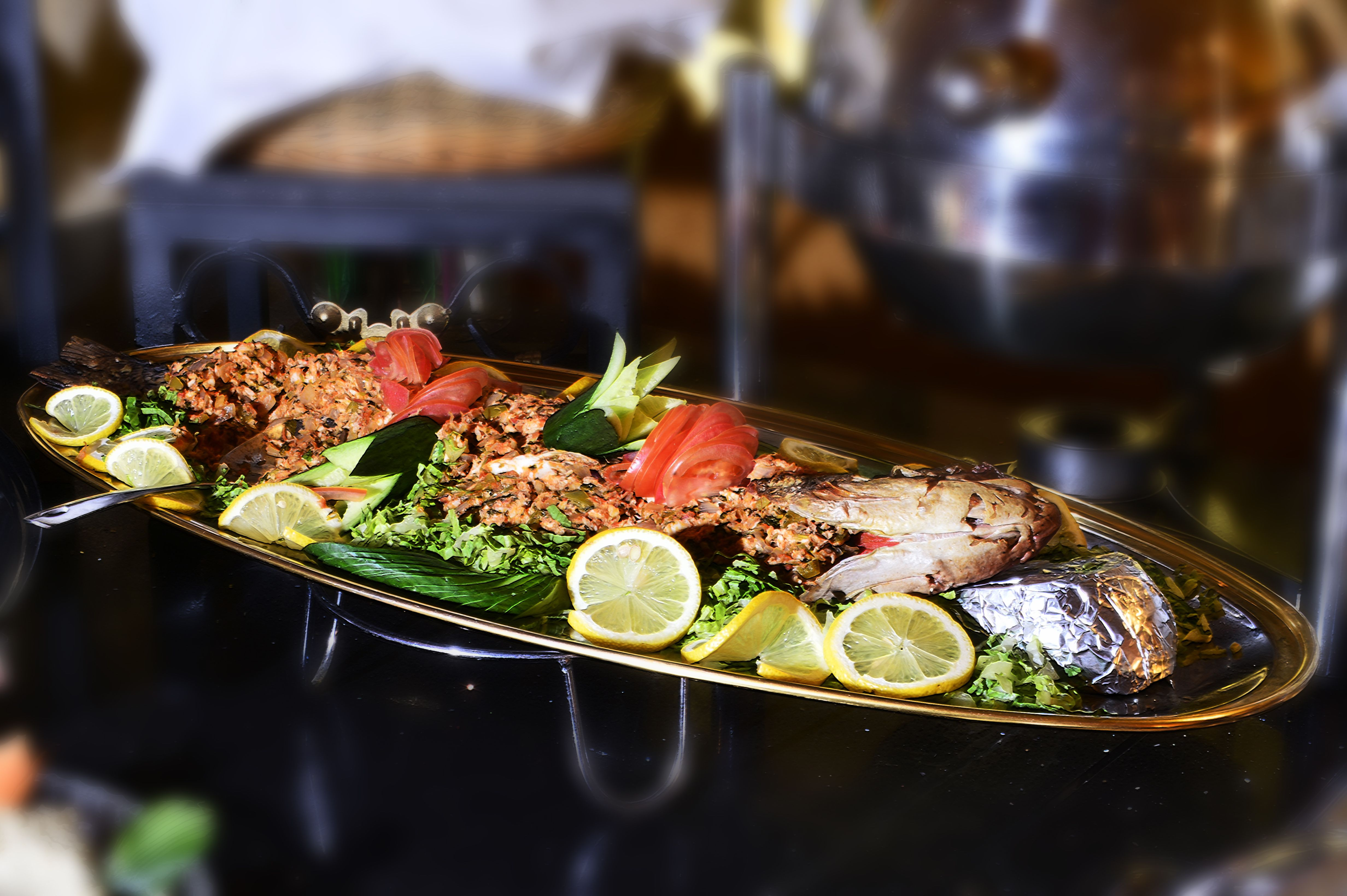 سمك مامور مشوي في مطعم اميرة فندق قصر الستين Fish And Seafood Food Eat
