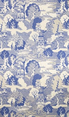 Summer Palace Wallpaper Chinese Scenic In Cream Blue And Gold It Is Reminiscent Of Willow Pattern Porcelain