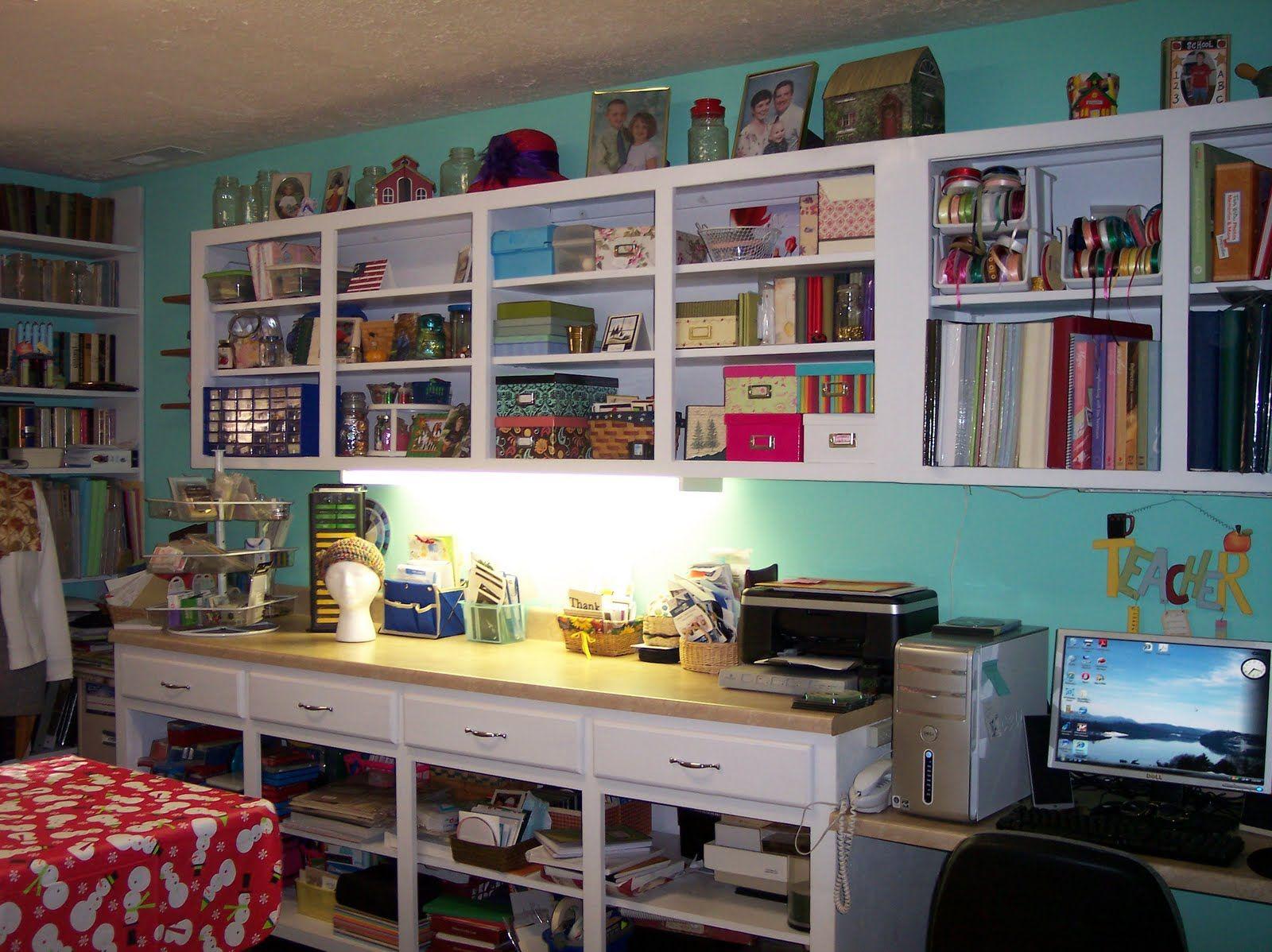 Superior Scrapbook Room Design Ideas Part - 8: Small Art Studio Design Ideas | Classic Scrapbook Room Design Sky Blue Wall  Small Office Desk