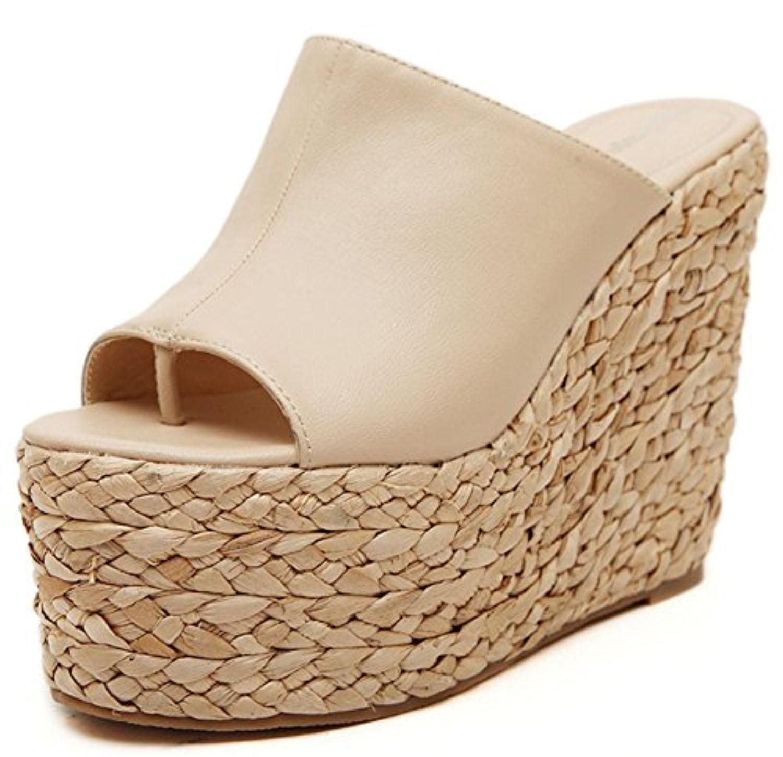 66c3ffd3cc7 IDIFU Women s Sexy Wedge High Heels Platform Thong Sandals Slide  Espadrilles Sandy Shoes Apricot 7.5 B(M) US - Brought to you by Avarsha.com