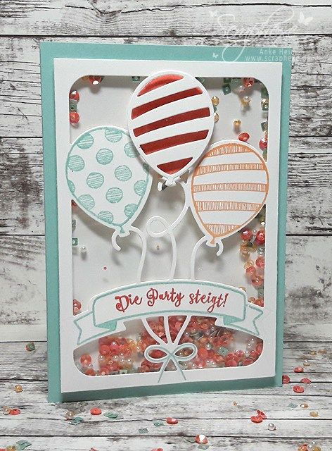 Balloon Party Shakercard Scraphexe Balloons Pinterest