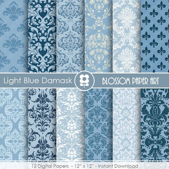 damask digital paper blue damask digital paper wedding scrapbook paper pack scrapbooking instant download