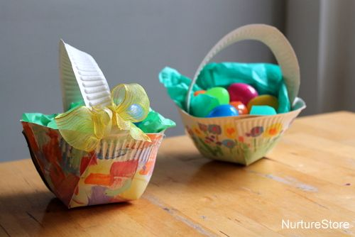 Paper plate Easter basket craft - simple to make and ever so pretty! & Paper plate Easter basket craft | Homemade easter baskets Basket ...