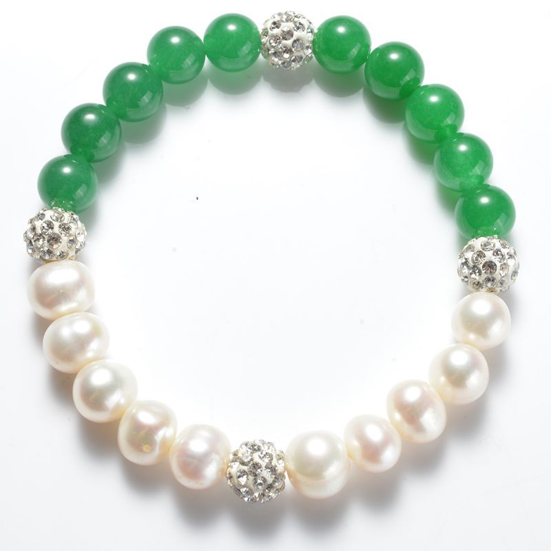 """Beautiful 8-9mm Natural White Cultured Pearl 10mm Green Jade Necklace 18/"""""""