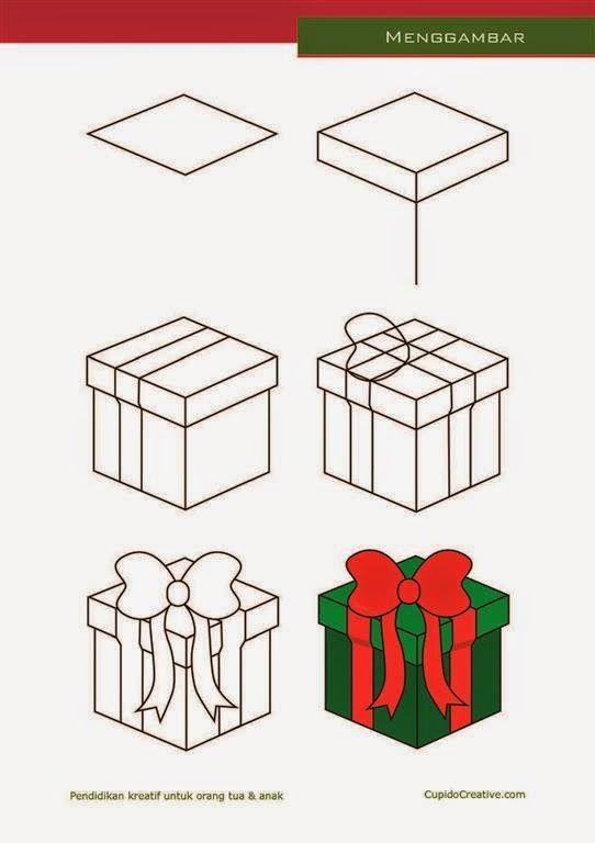 Kerajinan Anak Tk Sd Langkah Cara Menggambar Mewarnai Kado Natal