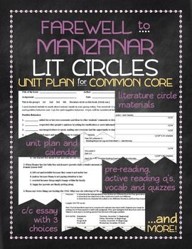 farewell to manzanar nonfiction novel study with lit circles for  farewell to manzanar nonfiction novel study with lit circl