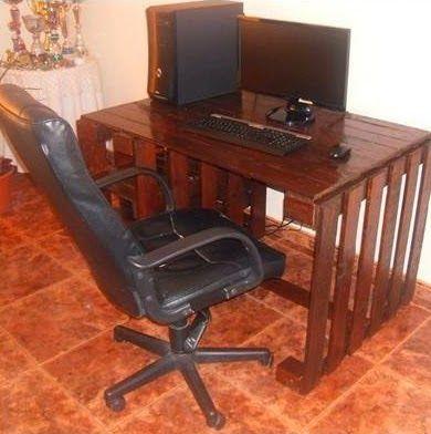 Muebles de palets escritorio para nuestro ordenador hecho - Muebles de ordenador ...