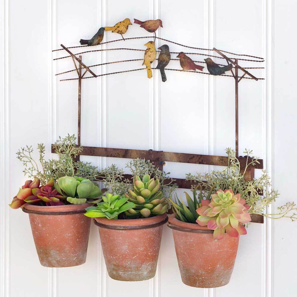 Birds On The Wire Wall Planter In 2020 Wall Planters Outdoor