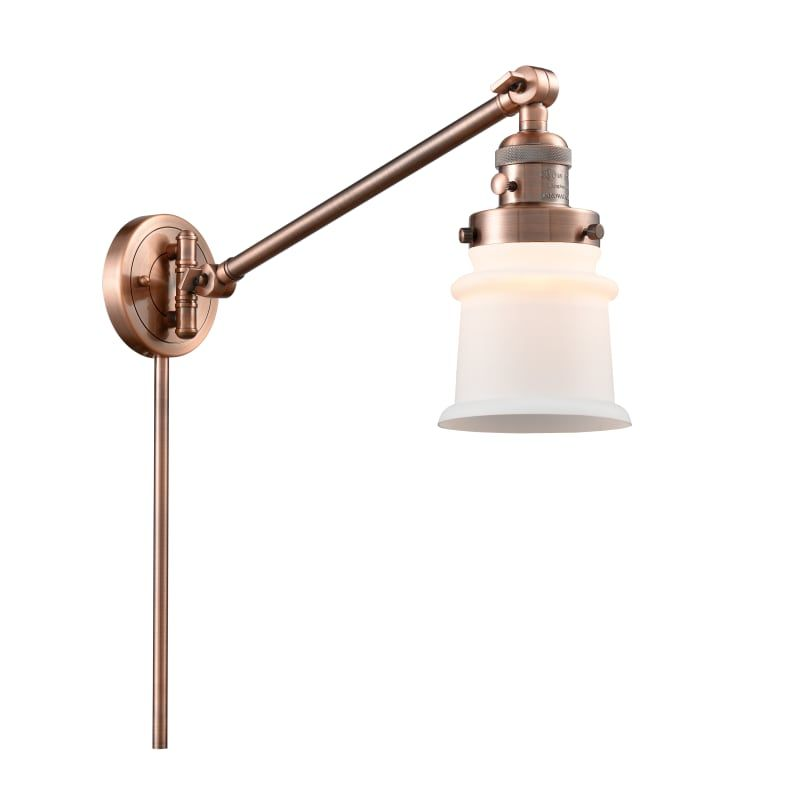 "Photo of Innovations Lighting 237 Small Canton Small Canton Single Light 25 ""Tall Bathroo Antique Copper / Matte White Indoor Lighting Bathroom Fixtures"