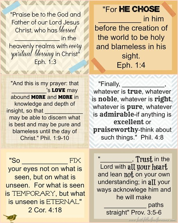 Printable Bible Verse Cards to Personalize Gifts Printable bible