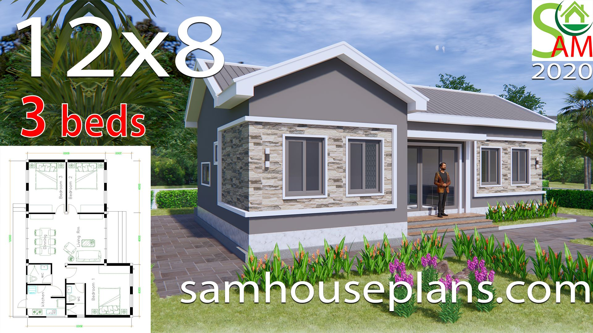 House Plans 12x8 With 3 Bedrooms Gable Roof Sam House Plans House Construction Plan Beautiful House Plans House Plan Gallery