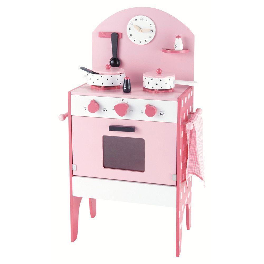 Cuisinière Pour Enfant En Bois Rose H Cm JUSTINE Cadeau - Cuisiniere pour idees de deco de cuisine