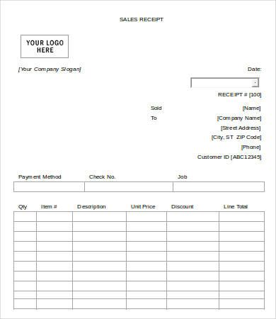Blank Sales Receipt Template , Free Sales Receipt Template for - Blank Receipt