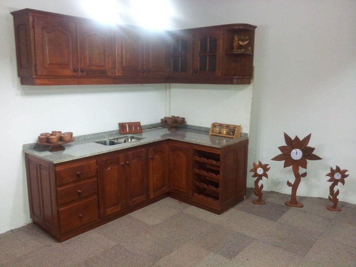 Muebles de cocina algarrobo madera en mercado libre for Muebles de cocina argentina