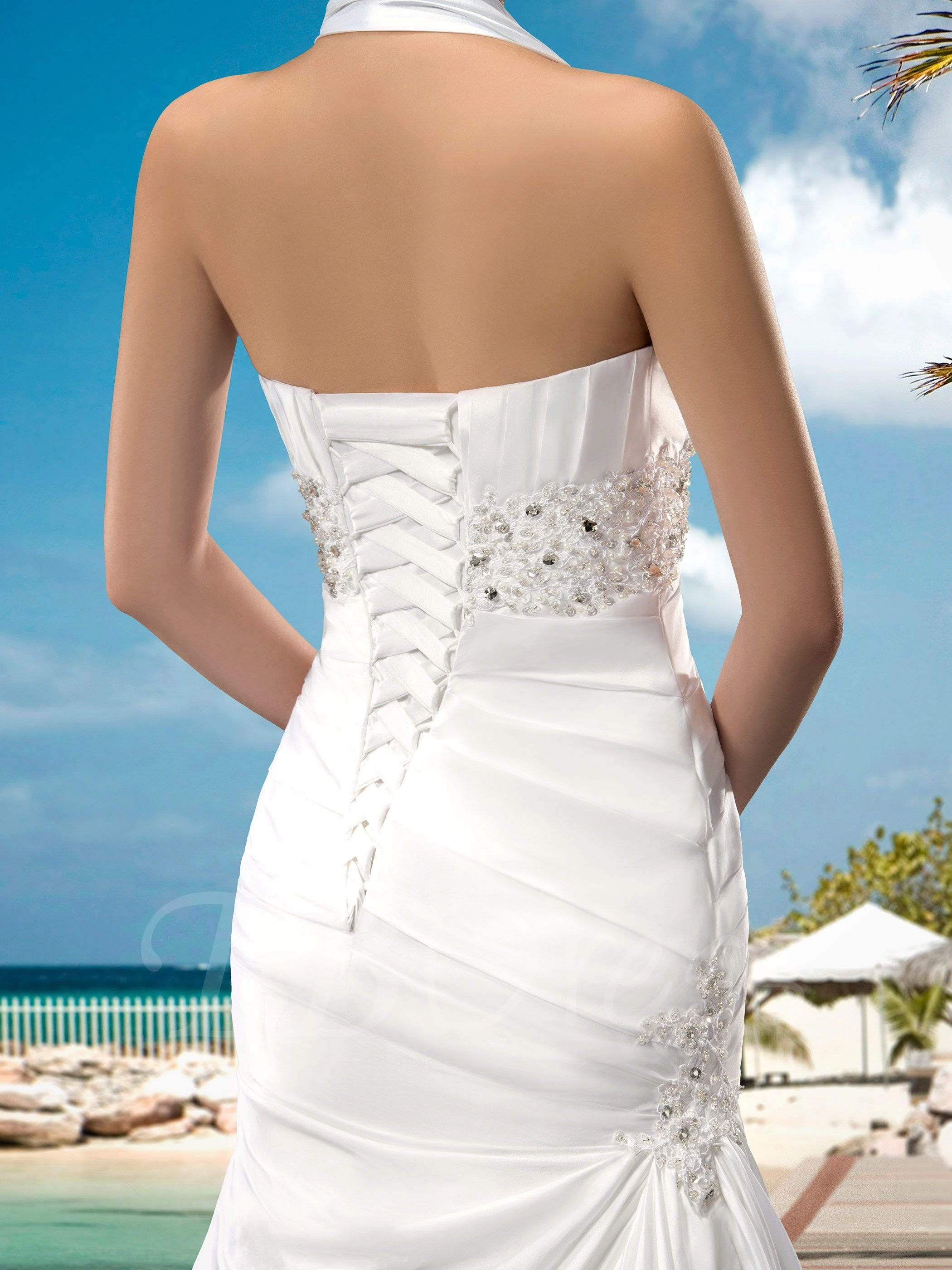 Superior Halter Lace-Up Appliques Beading Court Train Wedding Dress