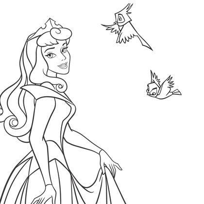 Coloriage aurore et les animaux coloriages princesses - Dessin princesse disney ...