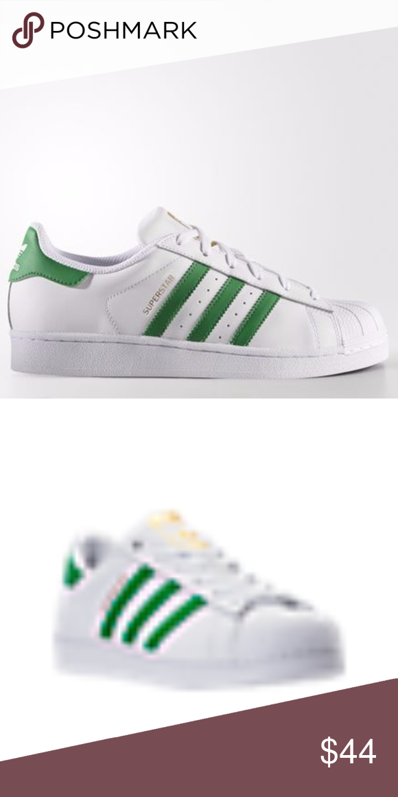 Women's Adidas Superstar White & Green Shoes Laid-back and oh-so comfortable ,