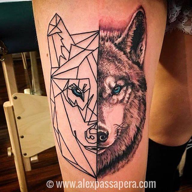 Half Portrait Half Geometric Wolf Tattoo By Alex Works Wed Sun 1 9pm Geometric Tattoo Tattoos Geometric Wolf Tattoo