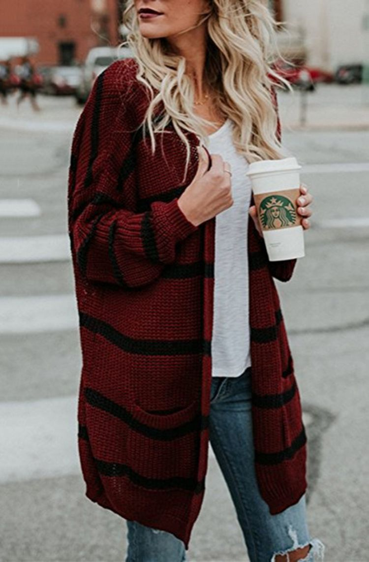 351ad5a775 Long Sleeve Knitted Cardigan Sweater Striped Pocket Outwear Coat Open –  lalasgal